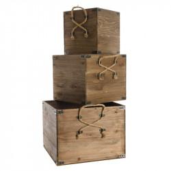 Brända lådor med rephandtag, 3 st./set