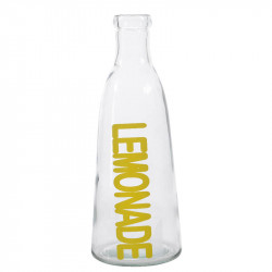 Glasflaska med text: LEMONADE