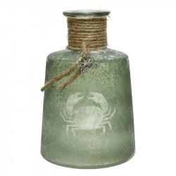 Flaskvas med rep och bihang av en liten krabba, H: 18 cm