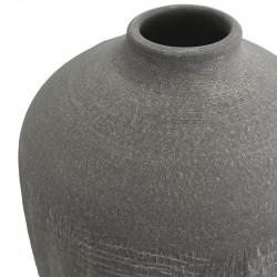 Terrakotta-kruka med struktur, smal öppning, antracit,H: 21 cm
