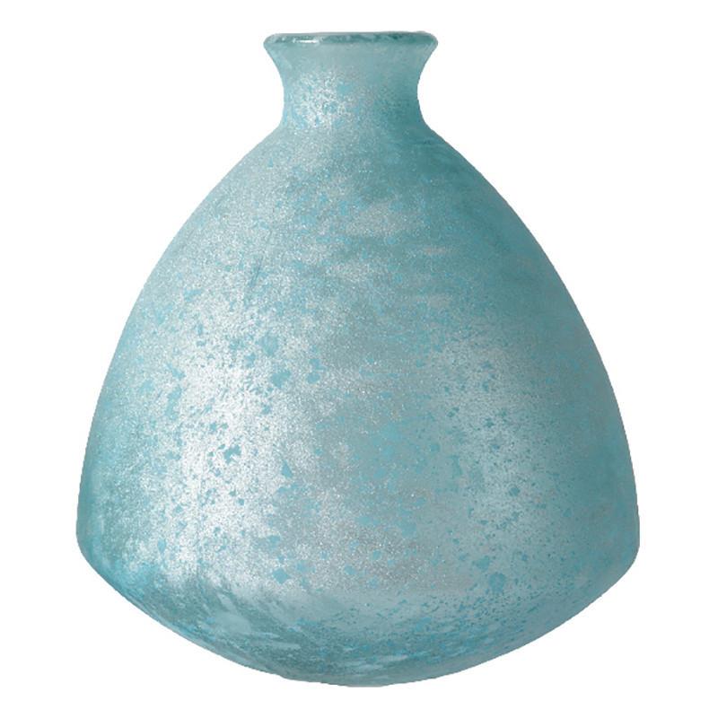 Knubbig Vas, antik look, ljusblå, H: 19 cm