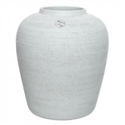 Terrakottavas med struktur, vit, H 40 cm