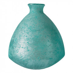 Knubbig Vas, antik look, aqua, H: 19 cm