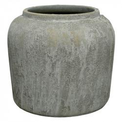 Terrakotta Kruka/Vas m sand-struktur, grågrön, H: 19 cm