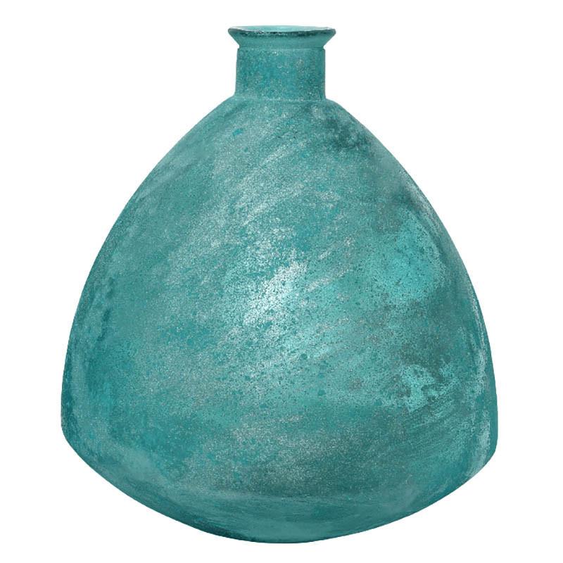Knubbig Vas, antik look, aqua, H: 44 cm