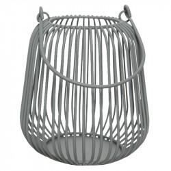 Mini-Lykta i stål, grå, H: 10 cm