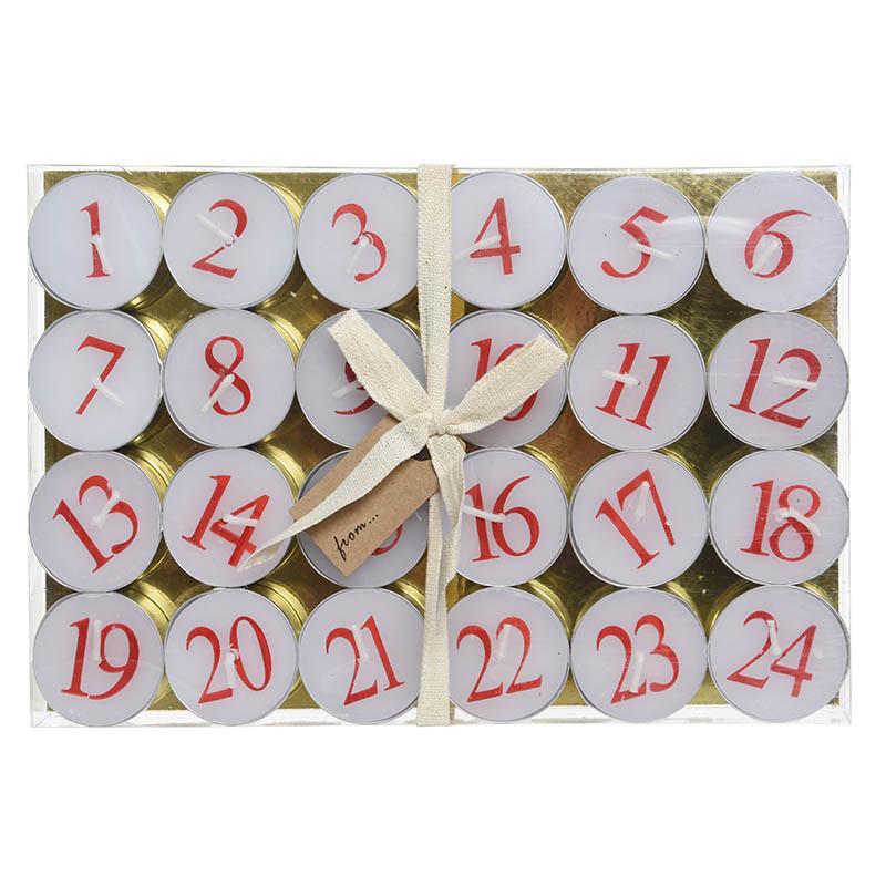 Kalender-värmeljus, med röda siffror från 1 till 24