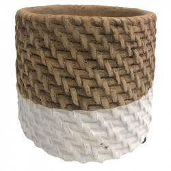 Cementkrukor med flätad look, Vit bas, 3 strl.