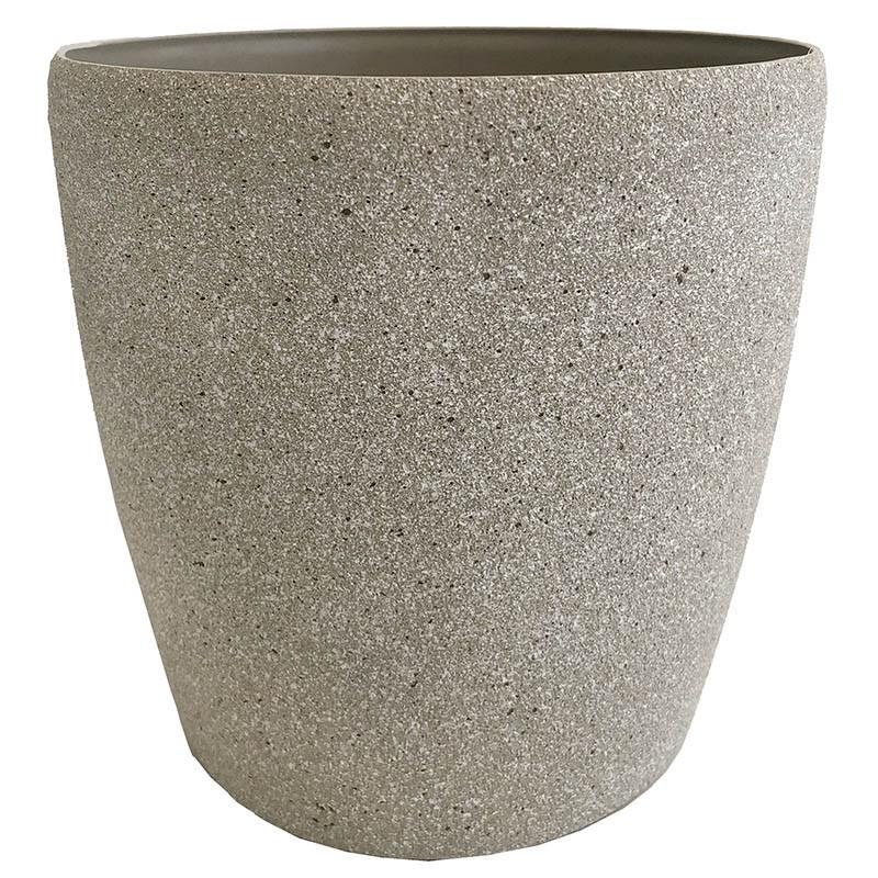 Växtkruka, rund, sandfärgad, H 20 cm Ø 22 cm