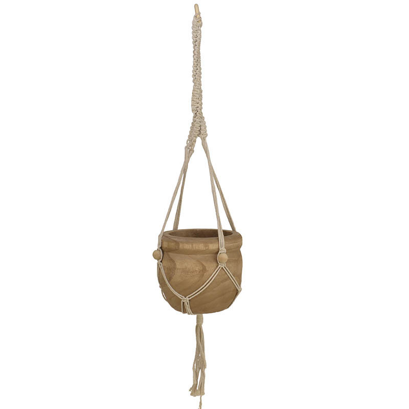Hängande kruka i Paulownia-trä med makramésnöre