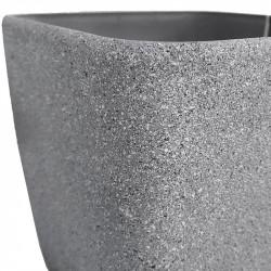 Växtkruka, fyrkantig, grå, H 20 cm B 22 x 22 cm