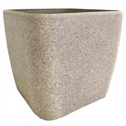 Växtkruka, fyrkantig, sandfärgad, H 20 cm B 22 x 22 cm
