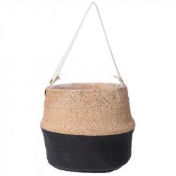 Cementkruka med fästanordning, svart botten 23 cm