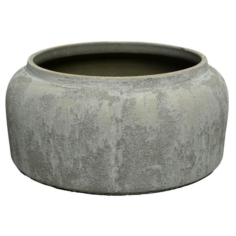 Terrakotta Kruka/Vas m sand-struktur, grågrön, H: 13 cm