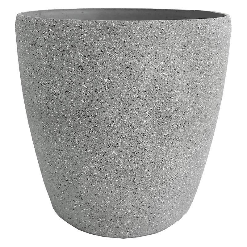 Växtkruka, rund, grå, H 20 cm Ø 22 cm