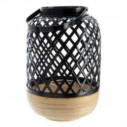 Bambulykta, 30 cm med hålmönster och handtag, Svart