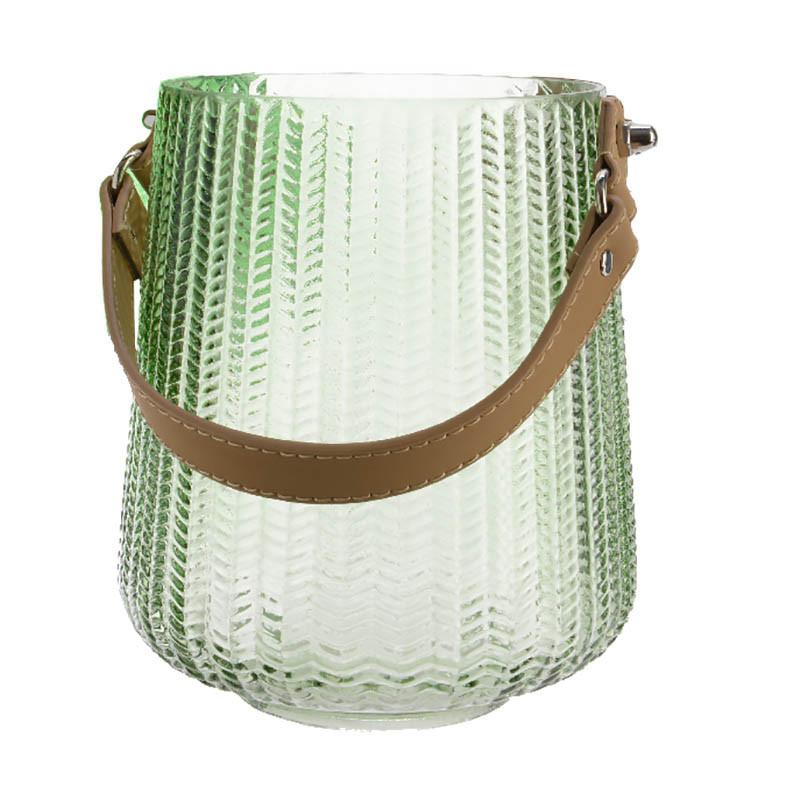 Glaslykta med läderhandtag, ljusgrön