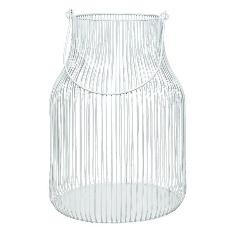 Mjölkkanna-formad lykta i stål, vit, 30 cm
