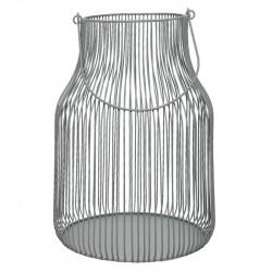 Mjölkkanna-formad lykta i stål, grå, 30 cm