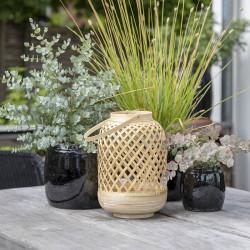 Bambulykta, 30 cm med hålmönster och handtag, Naturfärgad