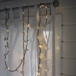 Rep med LED och snäckskal, 60 LED, 4 m, för inomhusbruk