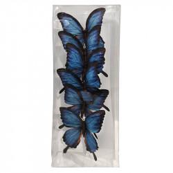 Fjärilar blå, 6 st. i box, konstgjorda fåglar