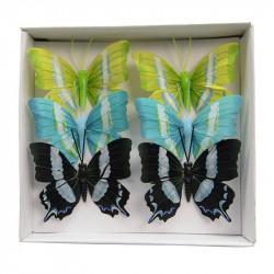 Fjärilar, 7 cm på ståltråd i 6-pack, konstgjorda fåglar