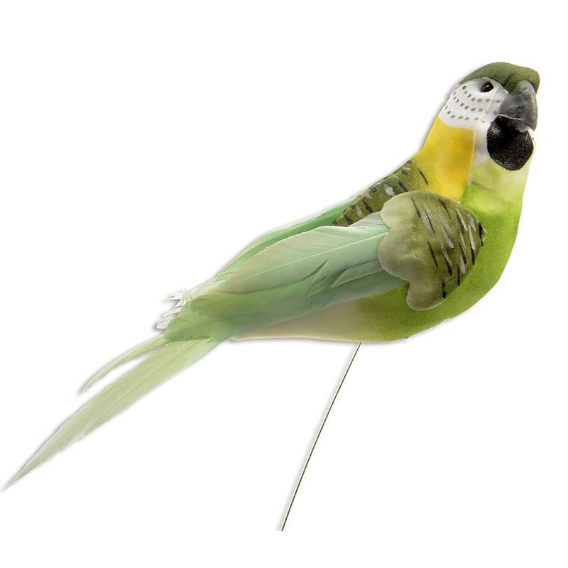 Fågel på pinne 17 cm Grön, konstgjort djur
