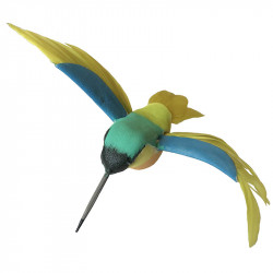 Kolibri på klämma, gul-blå, konstgjort djur