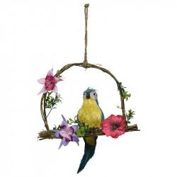 Papegoja på gunga, blå, 45cm