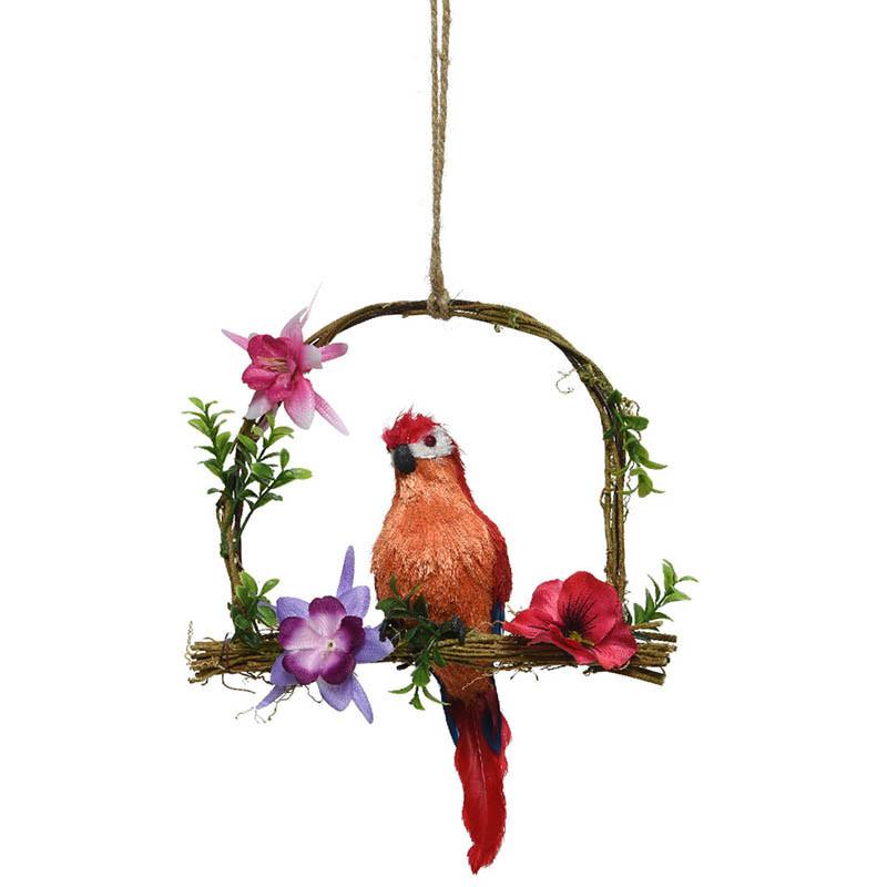 Papegoja på gunga, röd, 45cm