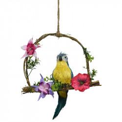 Papegoja på gunga, blå, 28 cm