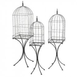 Fågelburar på stativ, set med 3 st. i järn