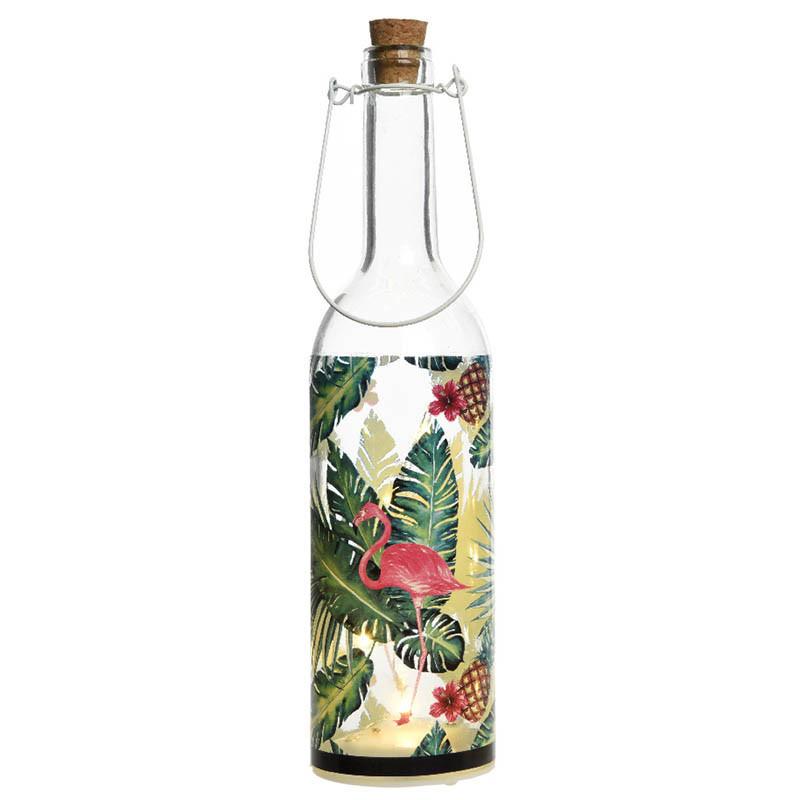 Dekorationsflaska med ljus och flamingo-print
