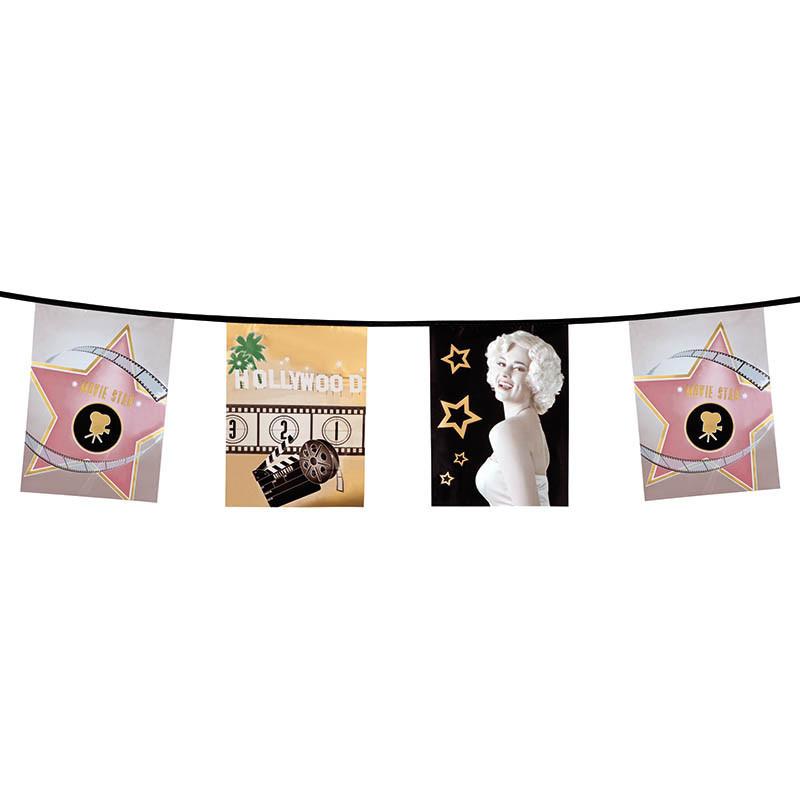 Flagranka med 15 flaggor med Hollywood-motiv