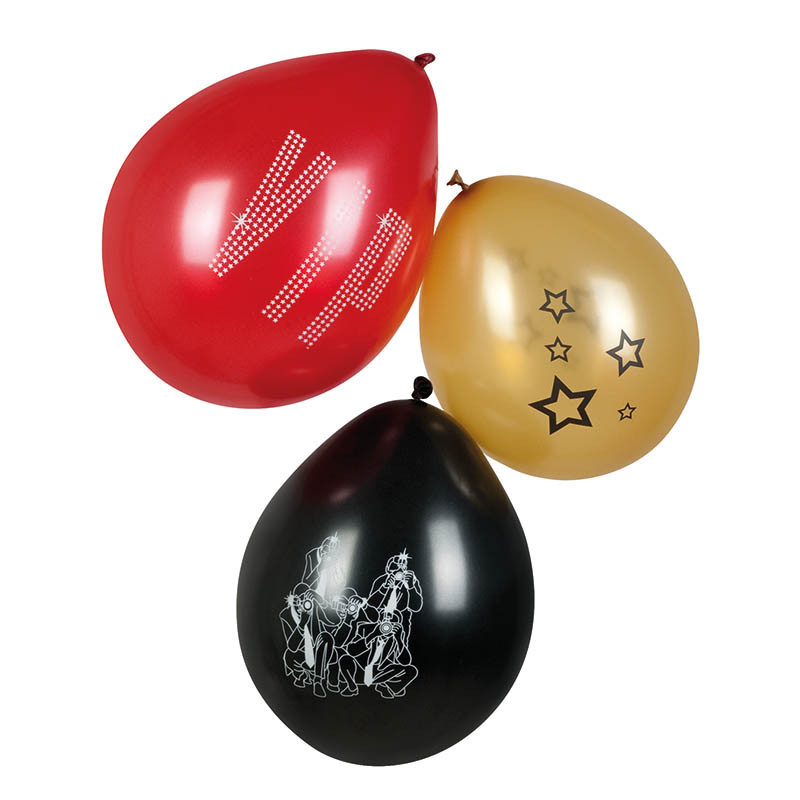 Ballonger med VIP-motiv i påse med 6 st., 3 blandade.