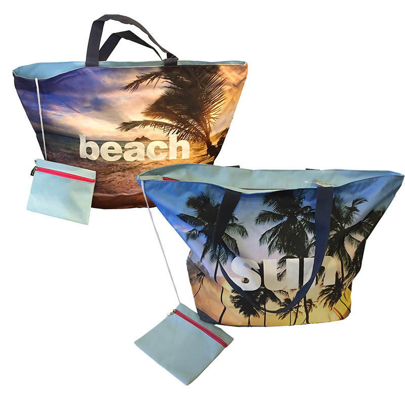 Strandväska med handtag och dragkedja ass. SUN/BEACH
