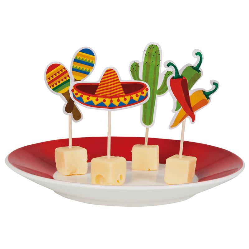 Cocktailpinne med Mexiko-motiv i 4 designs,12 st./förpackni ng