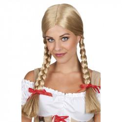 Heidi-peruk, blond med flätor och rosetter