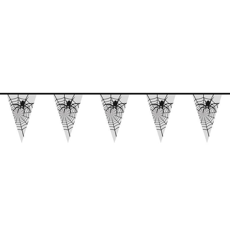 Vimpelranka med 15 flaggor med spindelmotiv