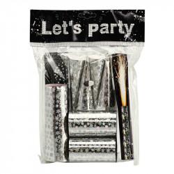 Nyårsparty påse-kit, bordspynt i silver
