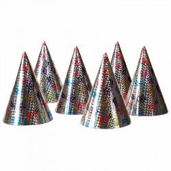 Nyårshattar med holografiskt motiv, i påse med 6 st.