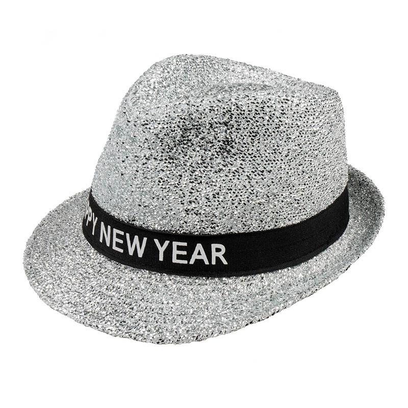 Nyårshatt med glitter och text i Al Capone-stil