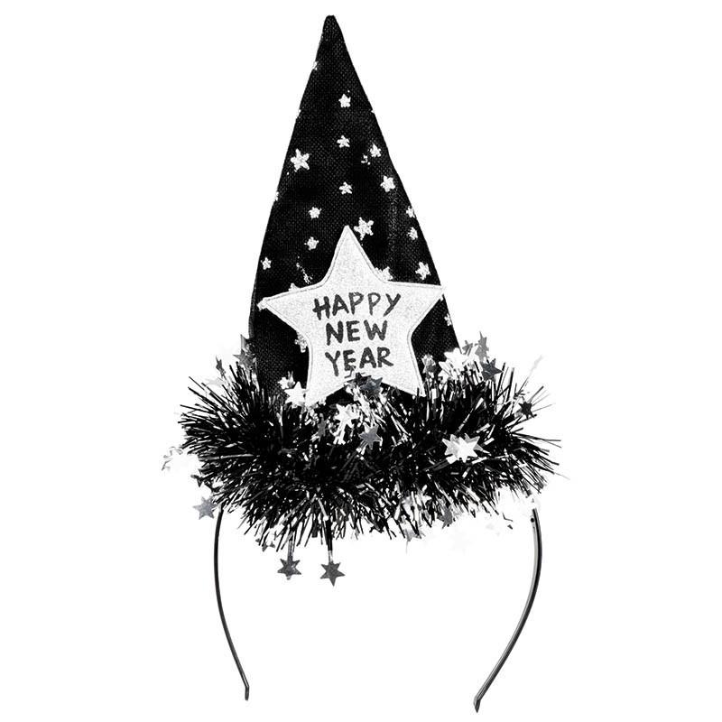 Nyårs-Diadem med hatt, text och glitter