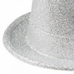 Hög hatt med glitter, Silver