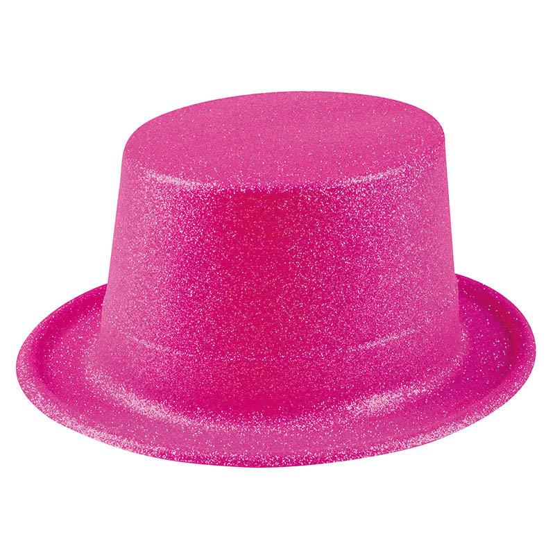Hög hatt med glitter, Rosa