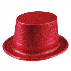 Nyårshatt hög med glitter, Röd