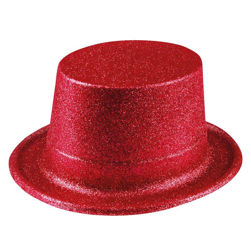 Hög hatt med glitter, Röd