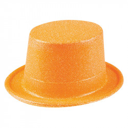 Nyårshatt hög med glitter, Orange