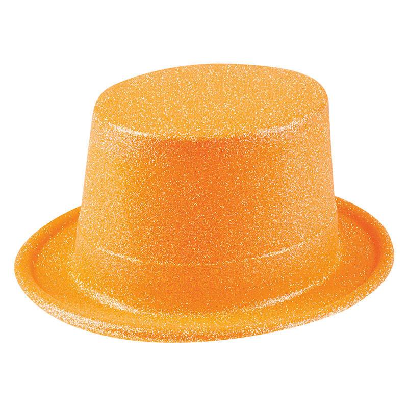 Hög hatt med glitter, Orange